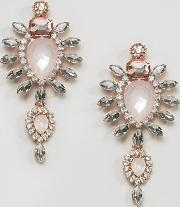 Johnny Loves Rosie , Blush Large Stone Drop Earrings Clear