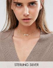 Asos , Gold Plated Sterling Silver Bunting Choker Necklace