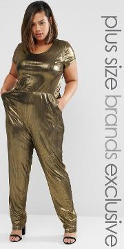One Day Plus , Metallic Cap Sleeve Jumpsuit Gold