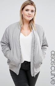 Asos Curve , Luxe Padded Bomber Jacket Silver Grey