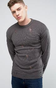Brave Soul , Knitted Jumper With Rips Grey