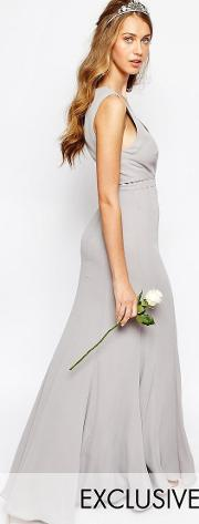 Fame And Partners , Everland Maxi Dress With Fishtail Cinder Grey