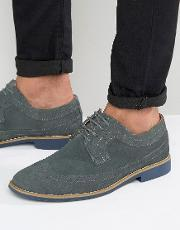 Front , Brogues In Suede Grey