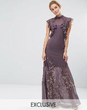 Hope And Ivy , Hope & Ivy High Neck Maxi With Ruffle Detail And Embroidered Skirt Grey