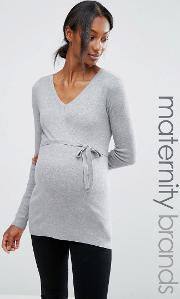 Mamalicious , Maternity Fine Knit Jumper Light Grey Melange