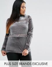 One Day Plus , Velvet Funnel Neck Knit Grey