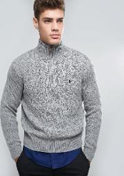Polo Ralph Lauren , Half Zip Jumper Cable Knit Fawn Grey Heather