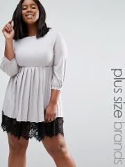 Praslin , Plus Dress With Pleated Skirt And Lace Hem Silver Grey
