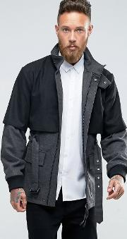 Rogues Of London , Coat With Layer Grey
