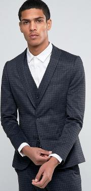 Selected Homme , Suit Jacket With Brushed Tonal Check In Skinny Fit Charcoal