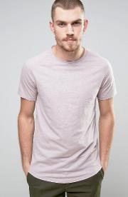 Selected Homme , T Shirt With Curved Hem Cloud Grey