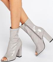 Truffle Collection , Truffle Peep Toe Boots Grey Patent