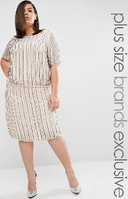Truly You , Embellished Midi Skirt Co Ord Grey