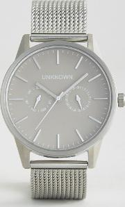 Unknown , Stone Dial Chronograph Mesh Watch In Silver