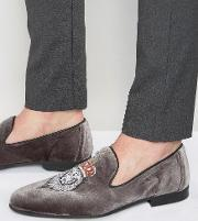 Walk London , Mayfair Embroidered Lion Loafers Grey