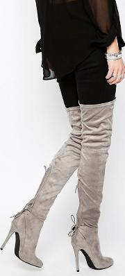Public Desire , Colette Heeled Thigh  Boots Grey Suede