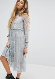 Navy , London High Neck Lace Dress With Delicate Flowers Grey