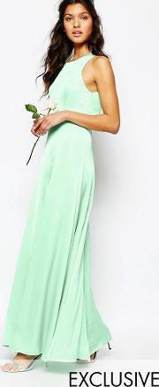 Fame And Partners , Asleigh Maxi Dress With Open Back And Side Splits Spray