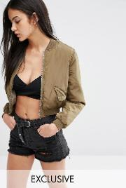 Missguided , Exclusive Satin Cropped Bomber Jacket Khaki