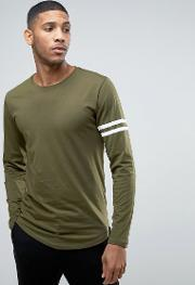 Only & Sons , Only And Sons Longline T Shirt With Arm Stripes  Curved Hem Khaki