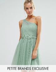 Little Mistress Petite , Full Prom Tulle One Shoulder Mini Dress With Lace Applique Sage