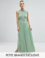 Little Mistress Petite , Ruched Pleated Maxi Prom Dress Sage