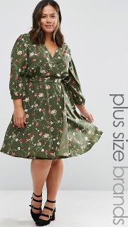 Yumi Plus , Wrap Dress In Floral Print Olive