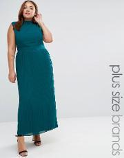 Lovedrobe , Plus Maxi Dress With Pleated Skirt Emerald