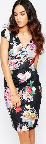 Jessica Wright , Abigail Floral Pencil Dress With Ruched Waist Black