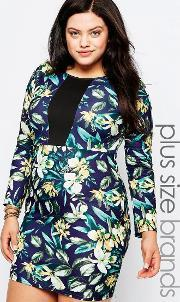 Praslin , Plus Pencil Dress In Floral Print With Contrast Insert