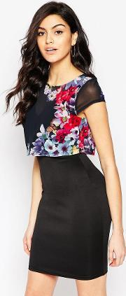 Jessica Wright , Kimmie Floral Overlay Dress  Print