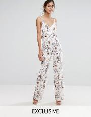 Hope And Ivy , Hope & Ivy Printed Jumpsuit With Frill Waist Light