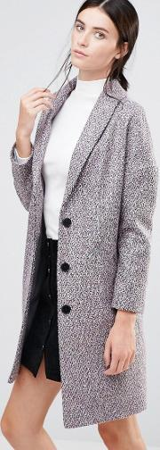 Helene Berman , Ovoid Ema Coat In Confetti Tweed 3   Black