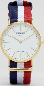 Reclaimed Vintage , Stripe Canvas Watch With White Dial