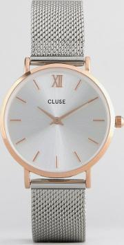 Cluse , Minuit Rose Gold & Silver Mesh Watch Cl30025 Mixed Metal