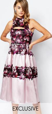True Violet , Full Prom Midi Dress In Sateen With Cut Out Lilac Floral