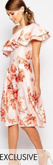True Violet , Sateen Prom Dress With Ruffle Shoulder Autumn Floral