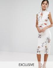 Hope And Ivy , Hope & Ivy Midi Dress In Print With Lace Insert