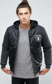Majestic , Raiders Satin Jacket With Hood Black