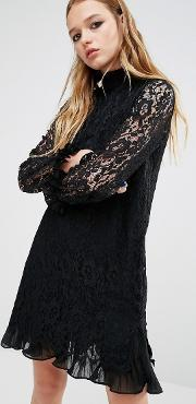 Navy , London High Neck Dress With Sheer Lace Sleeves And Ruffles Black