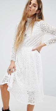 Navy , London High Neck Lace Pleated Dress White