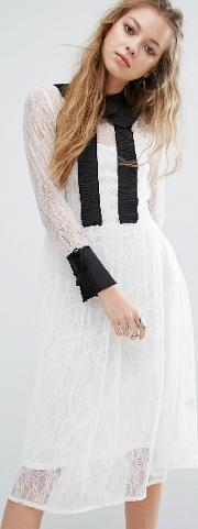 Navy , London Lace Midi Dress With Collar White