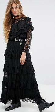 Navy , London Maxi Skirt With Lace Tiers Black