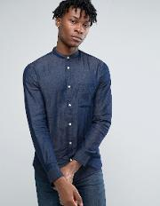 Selected Homme , Long Sleeve Slim Fit Shirt With Grandad Collar In Washed Indigo Dark Blue
