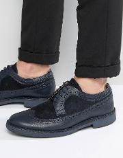 Selected Homme , Ronald Leather Brogue Shoes Blue
