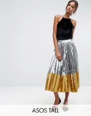 Asos Tall , Pleated Midi Skirt In Metallic With Contrast Hem Silver