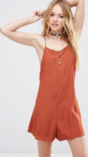 Asos , Cami Waisted Playsuit With Cross Back Rust