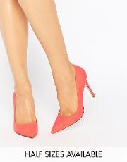 Asos , Peru Pointed High Heels Hot Coral