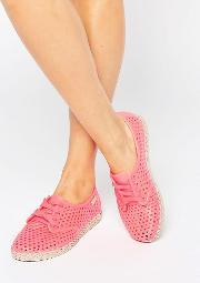 Zaxy , Lace Up Espadrille Coral