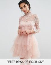 Chi Chi Petite , Chi  London Petite Allover Lace Mini Prom Dress With Ruffle Layered Skirt Nude